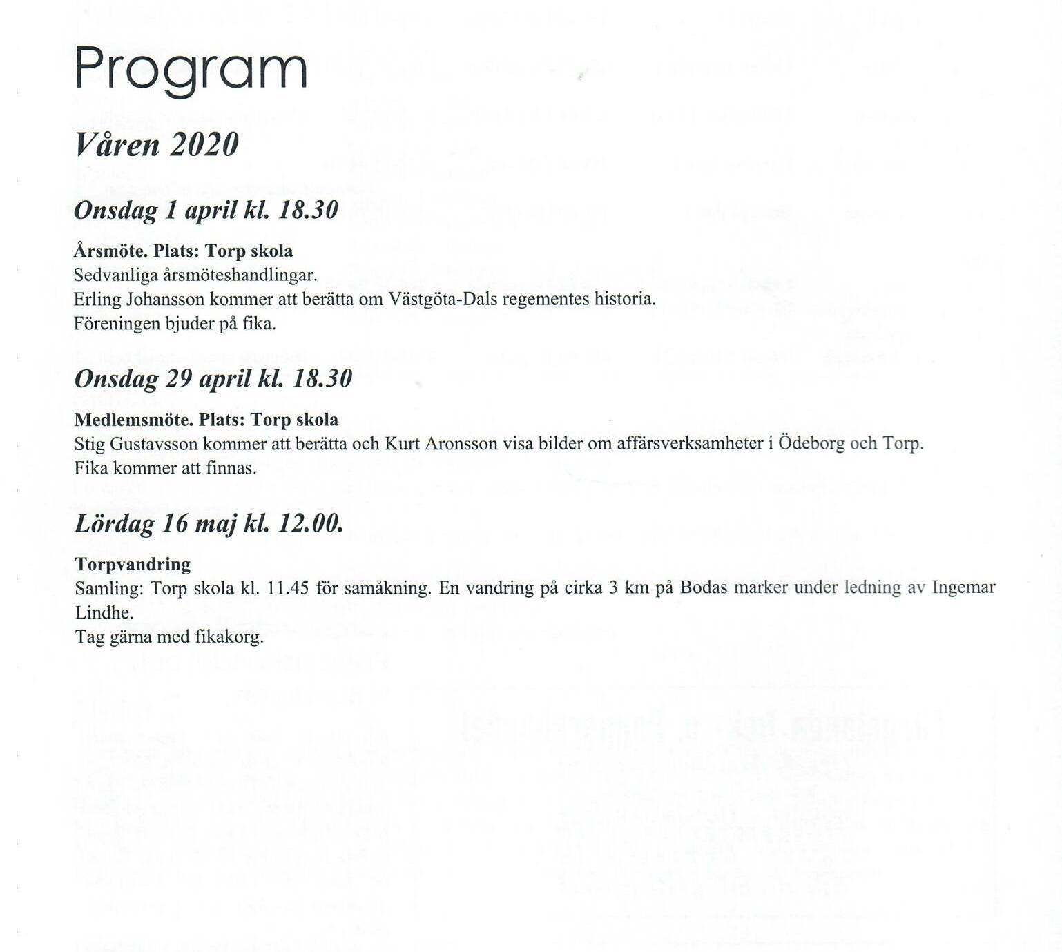 Program vår 2020